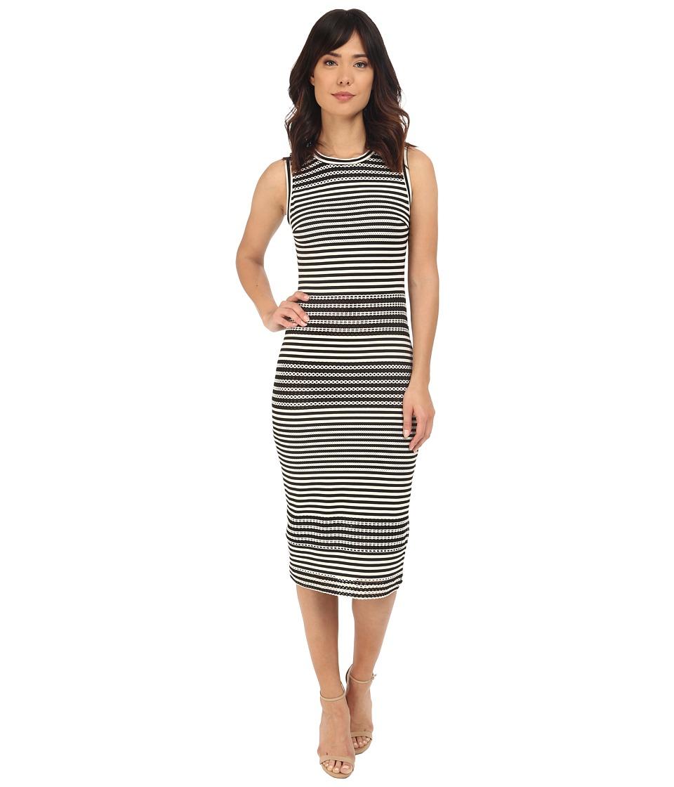 Nicole Miller Open Stripe Dafnie Dress (Black/White) Women