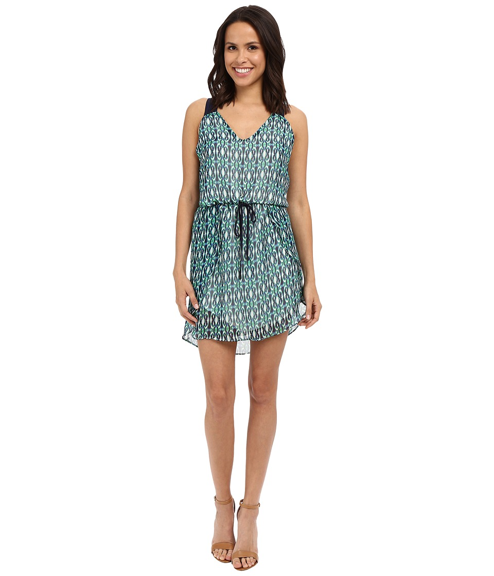 Adelyn Rae Printed T Back Strap Tank Top Dress (Green/Blue) Women