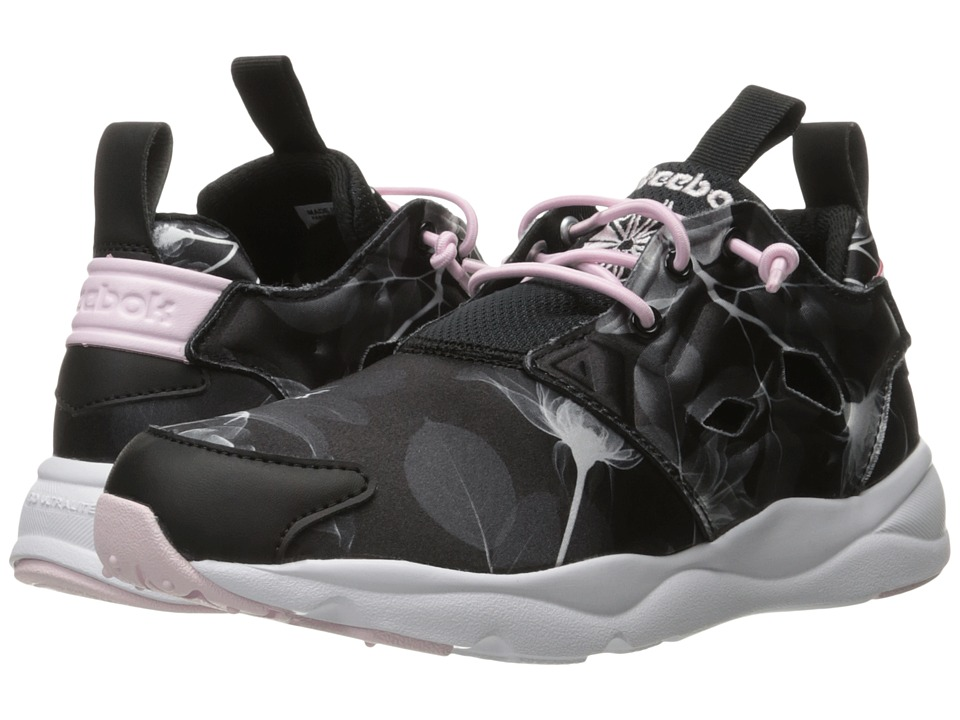 Reebok Lifestyle - Furylite Slip-On Jersey (Floral/Black/White/Porcelain Pink) Women's Shoes