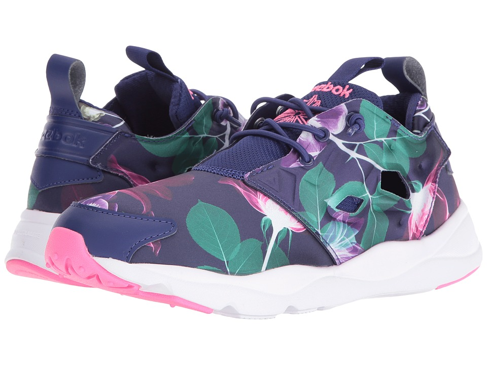 Reebok Lifestyle - Furylite Slip-On Jersey (Floral/Night Navy/Phantom Blue/White/Poison Pink) Women's Shoes