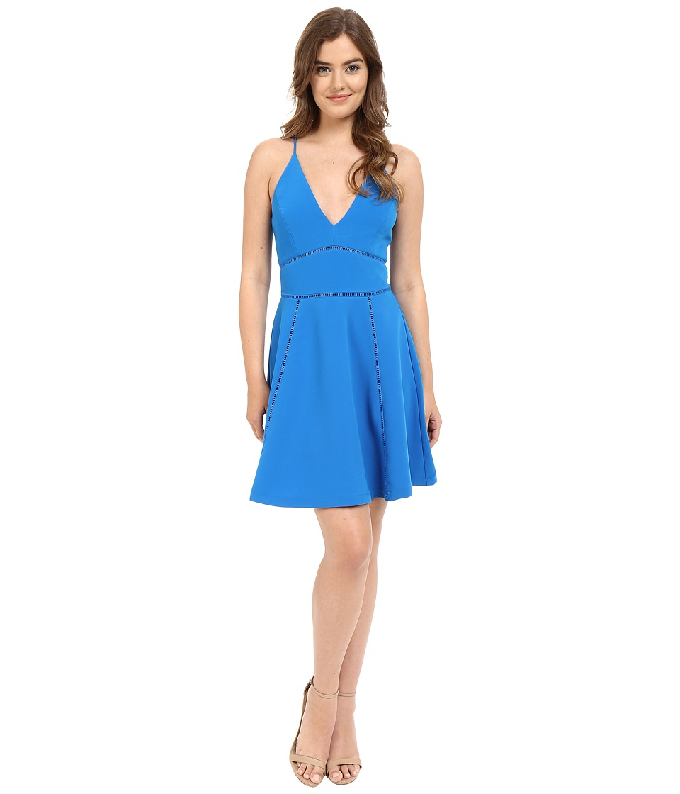 Adelyn Rae - Tank Top V Front Dress w/ Waist Detail (Cyan) Women's Dress