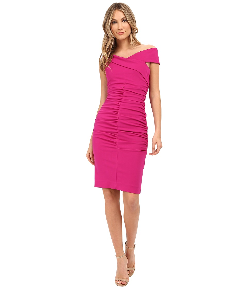 Nicole Miller - Structured Jersey Palazzo Off-Shoulder Dress (Very Berry) Women's Dress