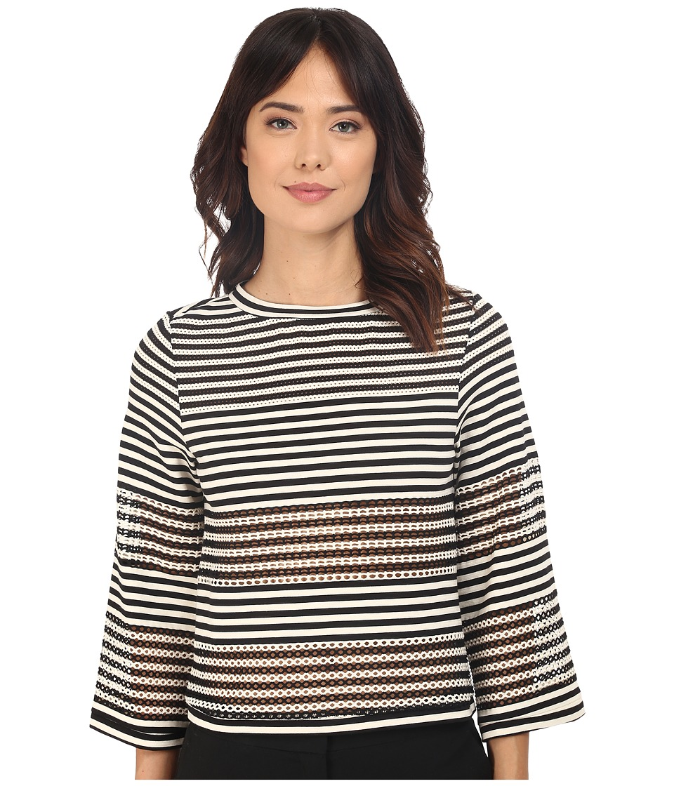 Nicole Miller - Open Stripe Delphine 3/4 Knit (Black/White) Women's Clothing
