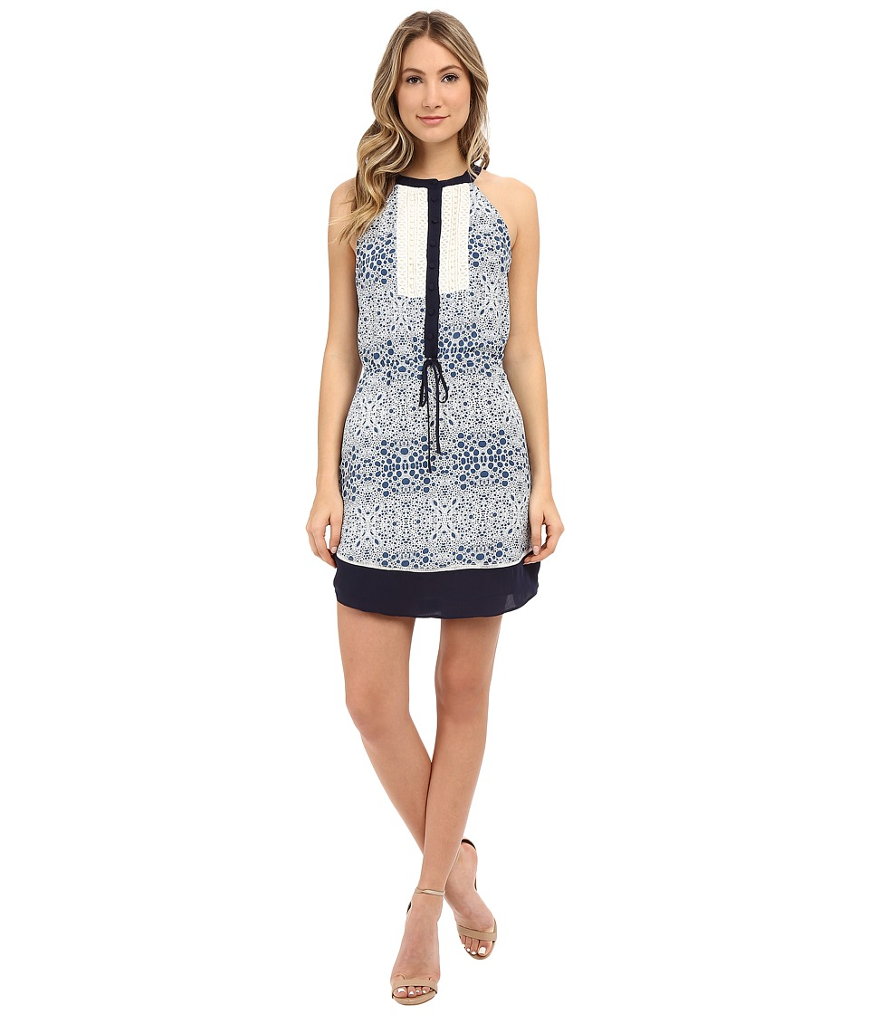 Adelyn Rae Drawstring Printed Dress w/ Contrast Lace (Blue) Women