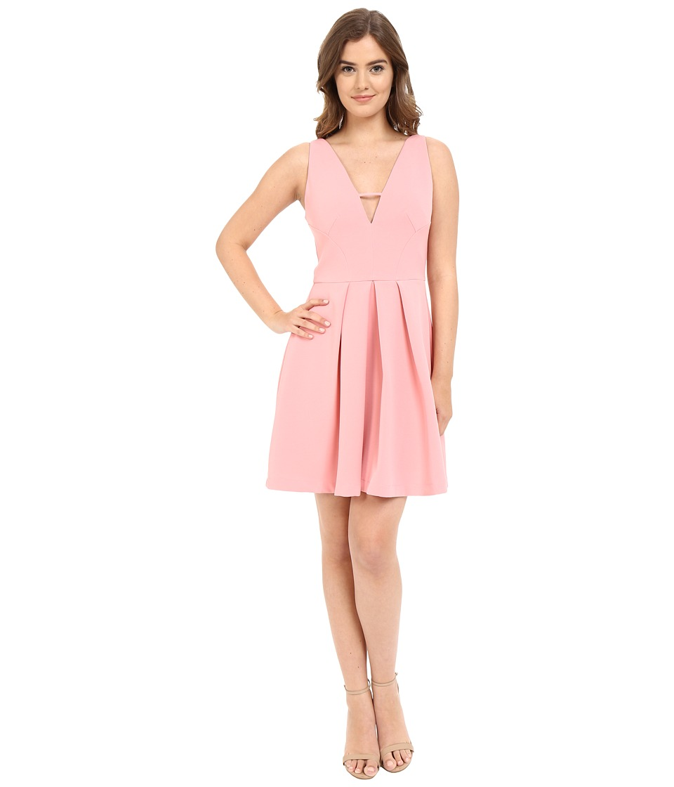 Adelyn Rae - V Front Fit Flare Dress (Light Pink) Women's Dress