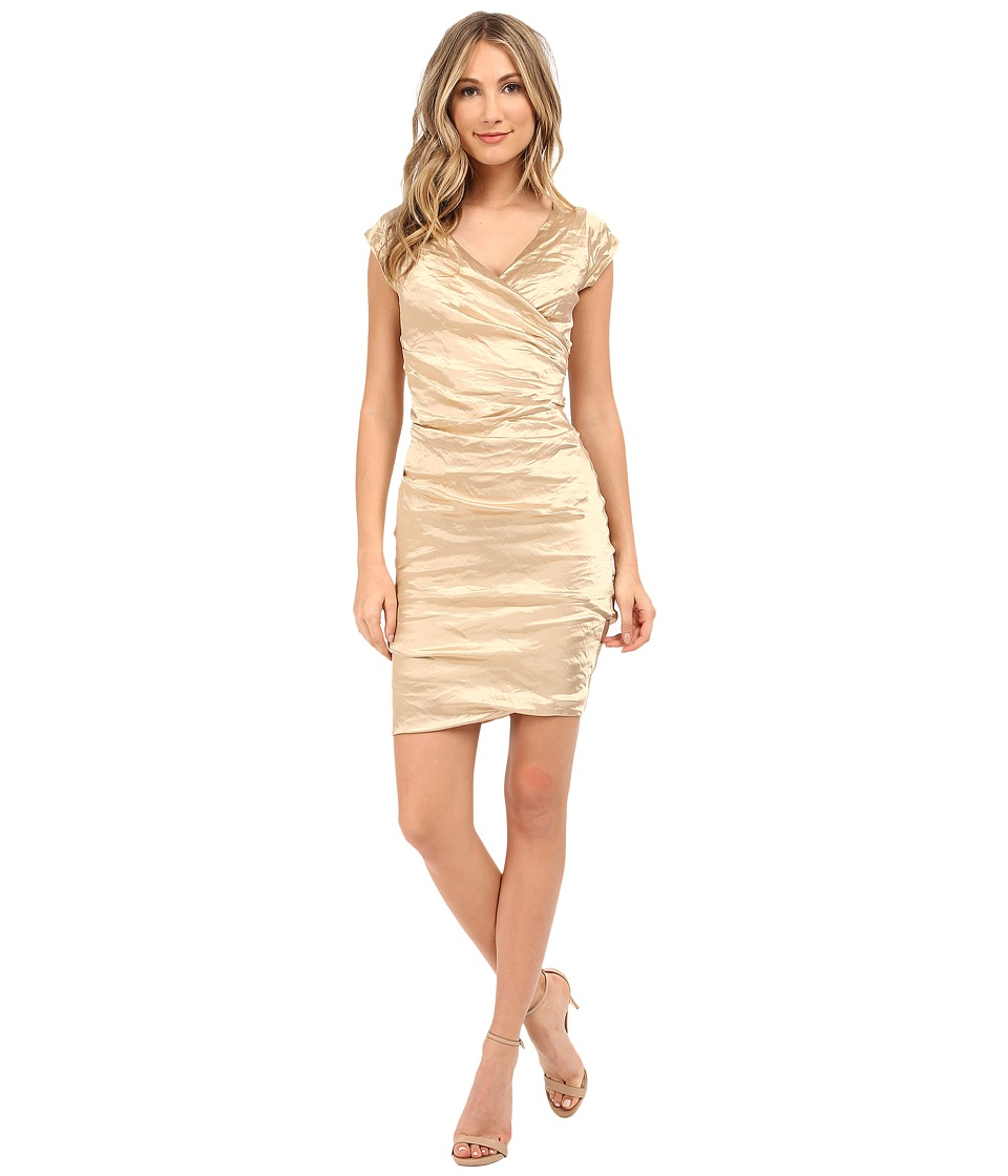 Nicole Miller Beckette Techno Cap Sleeve Dress (Gold) Women