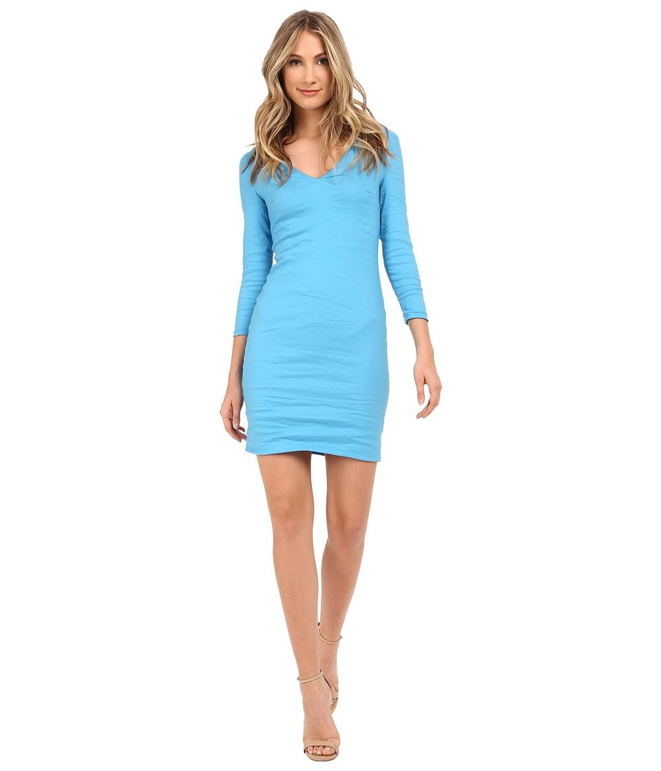 Nicole Miller Mercedes V-Neck Long Sleeve Dress (Bahama Blue) Women