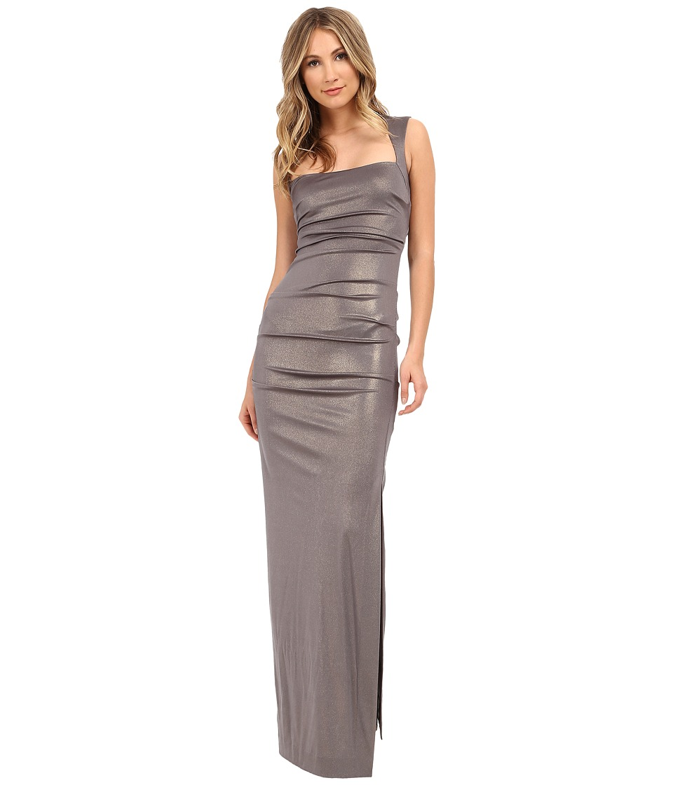 Nicole Miller - Slinky Foil Jersey Felicity Gown (Moon Rock) Women's Dress