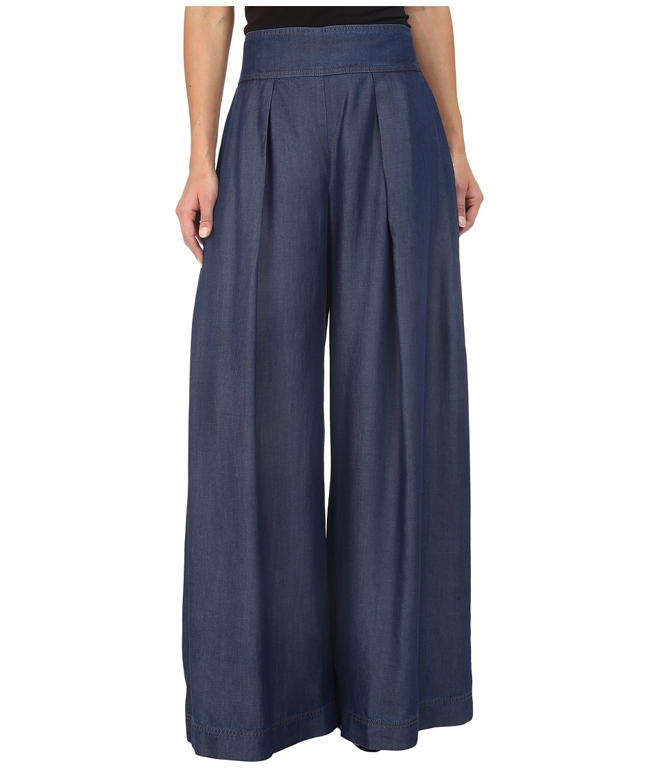 Nicole Miller - Chambray Skyscraper Pants (Blue) Women's Casual Pants