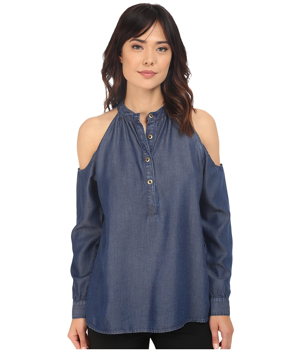 Nicole Miller - Chambray Leigh Top (Blue) Women's Clothing