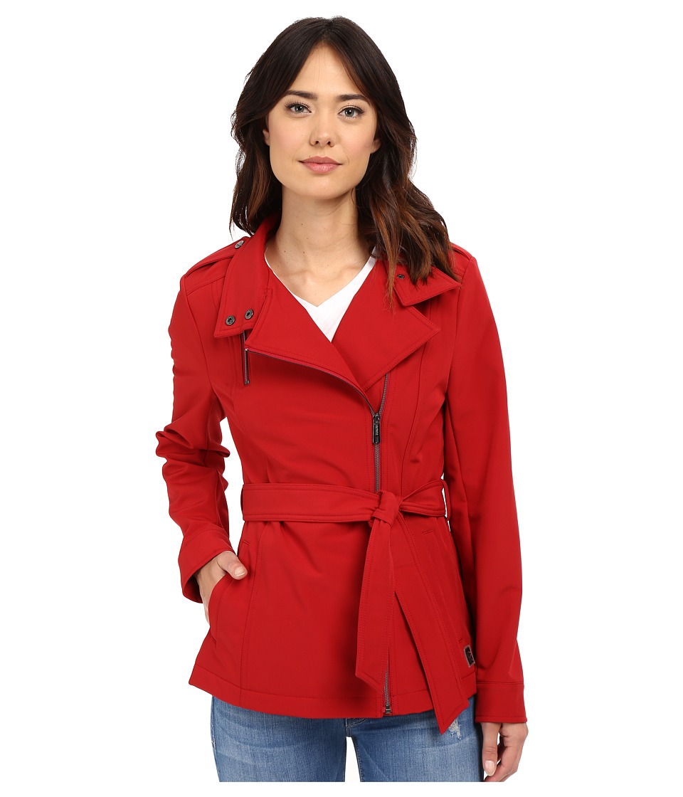 Kenneth Cole New York - Asymetrical Zip Front Softshell Jacket (Crimson) Women