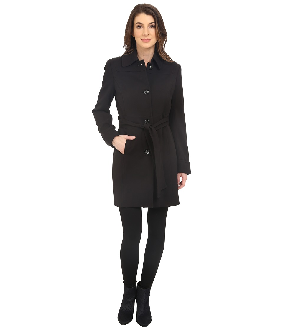 Kenneth Cole New York - Button Front Trench Coat (Black) Women's Coat