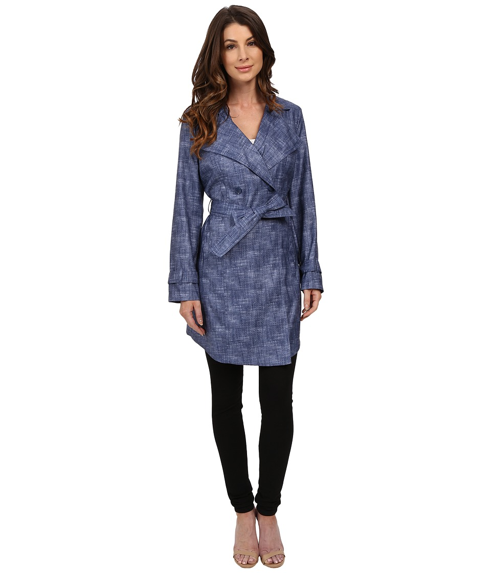 Kenneth Cole New York - Printed Trench Coat (Cadet Blue) Women's Coat