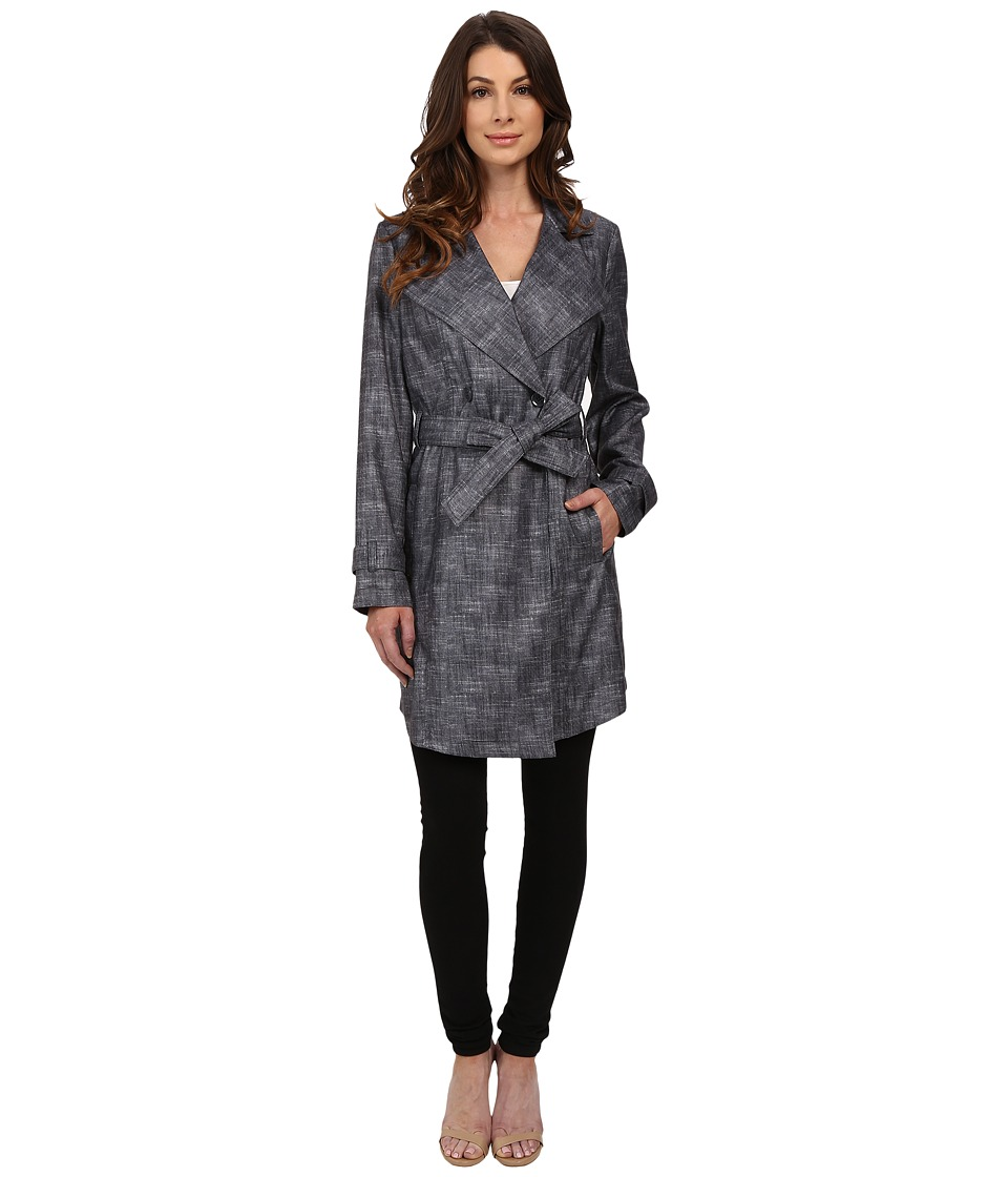 Kenneth Cole New York - Printed Trench Coat (Smoke) Women's Coat