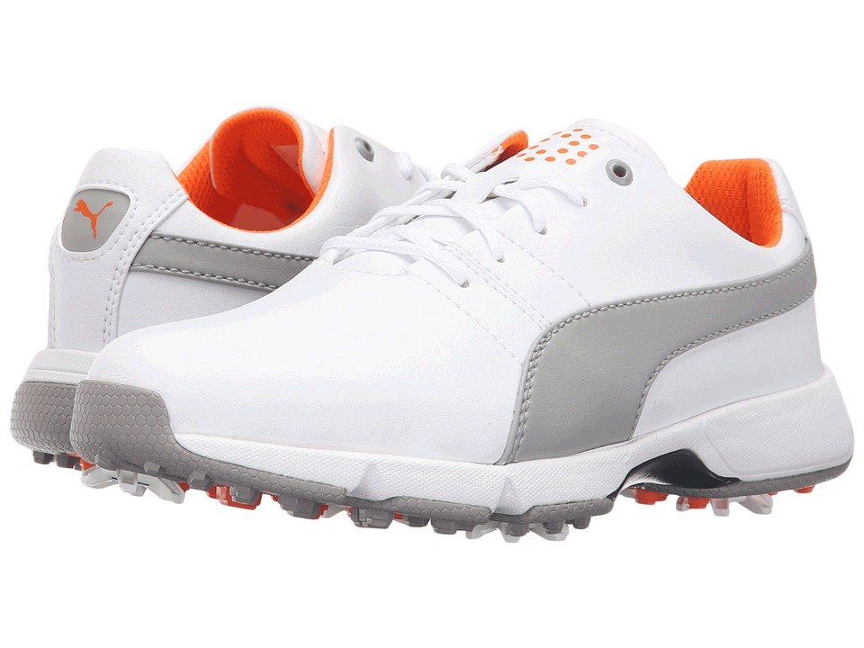 PUMA Golf Titantour Cleated (Little Kid/Big Kid) (White/Drizzle) Men