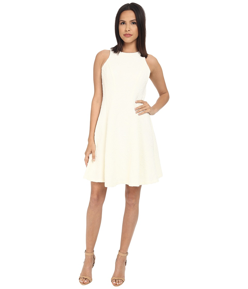 Maggy London Plume Plisse Fit and Flare Dress (Ivory) Women