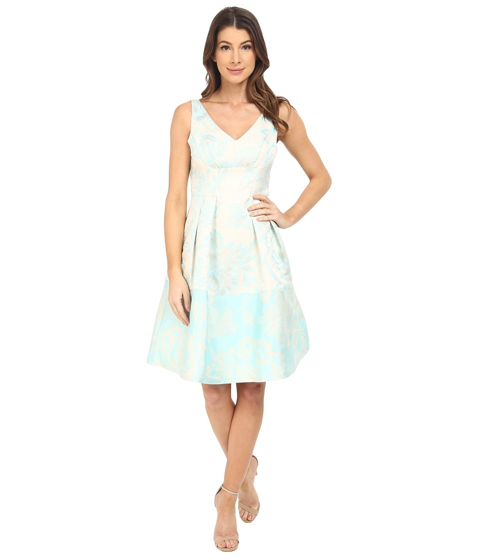 Maggy London - Leafy Floral Brocade Fit and Flare Dress (Aqua) Women's Dress