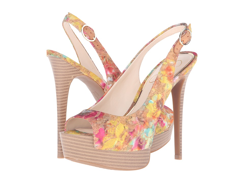 Jessica Simpson Kane (Natural Multi/Cork Multi Floral Lace Overlay) Women