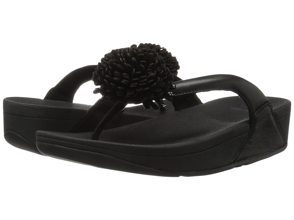 FitFlop Flowerball Leather Toe Post (Black) Women