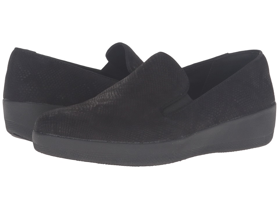 FitFlop - Superskate (Black Snake Embossed) Women's Clog/Mule Shoes