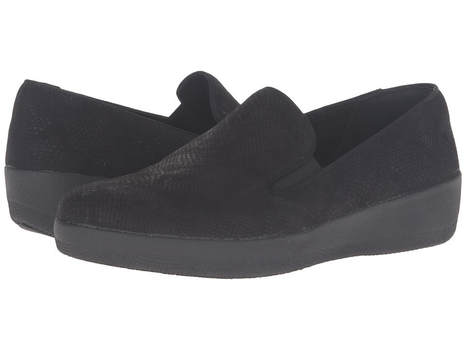 FitFlop Superskate Black Snake Embossed Womens Clog-Mule Shoes