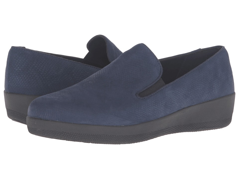 FitFlop - Superskate (Midnight Navy Snake Embossed) Women's Clog/Mule Shoes
