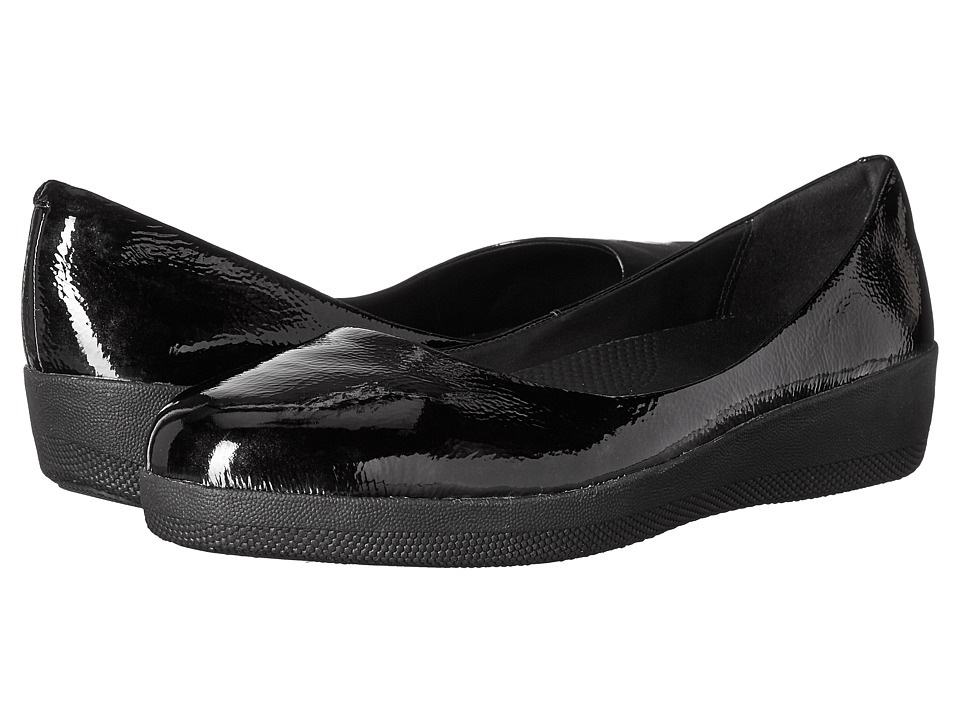 FitFlop Patent Superballerina (All Black) Women