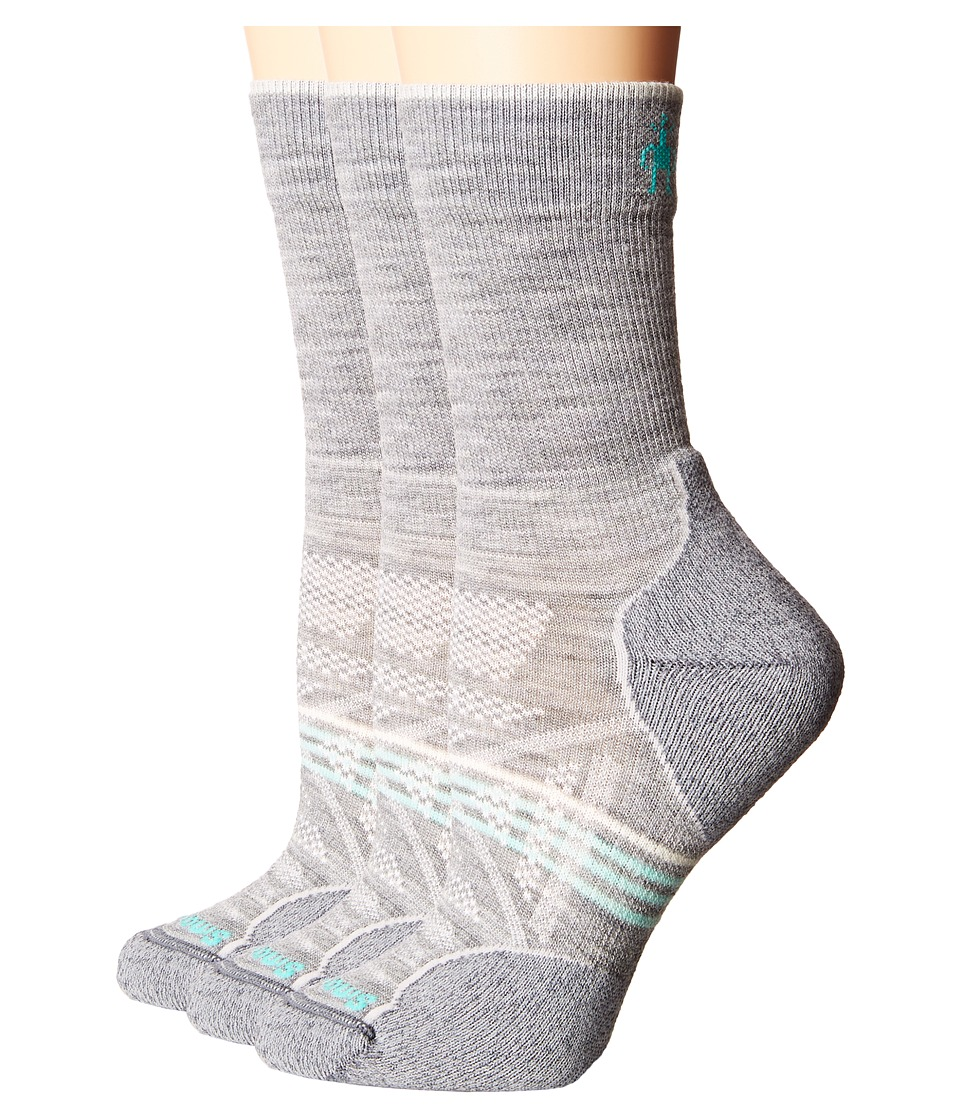 Smartwool - PhD Outdoor Light Crew 3-Pack (Light Gray 1) Women's Crew Cut Socks Shoes