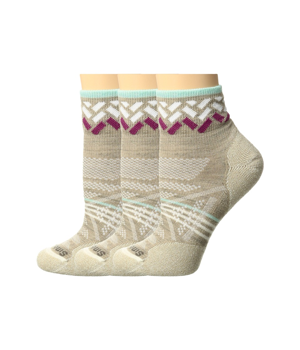 Smartwool - PhD Outdoor Light Mini Pattern 3-Pack (Oatmeal) Women's Crew Cut Socks Shoes