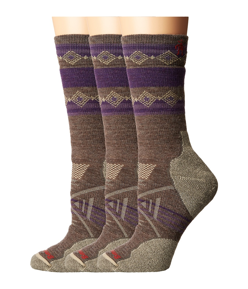 Smartwool - PhD Outdoor Medium Pattern Crew 3-Pair Pack (Taupe) Women's Crew Cut Socks Shoes