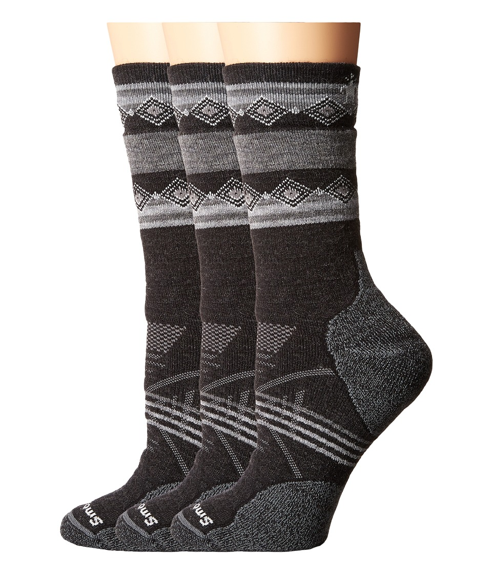 Smartwool - PhD Outdoor Medium Pattern Crew 3-Pair Pack (Charcoal 1) Women's Crew Cut Socks Shoes