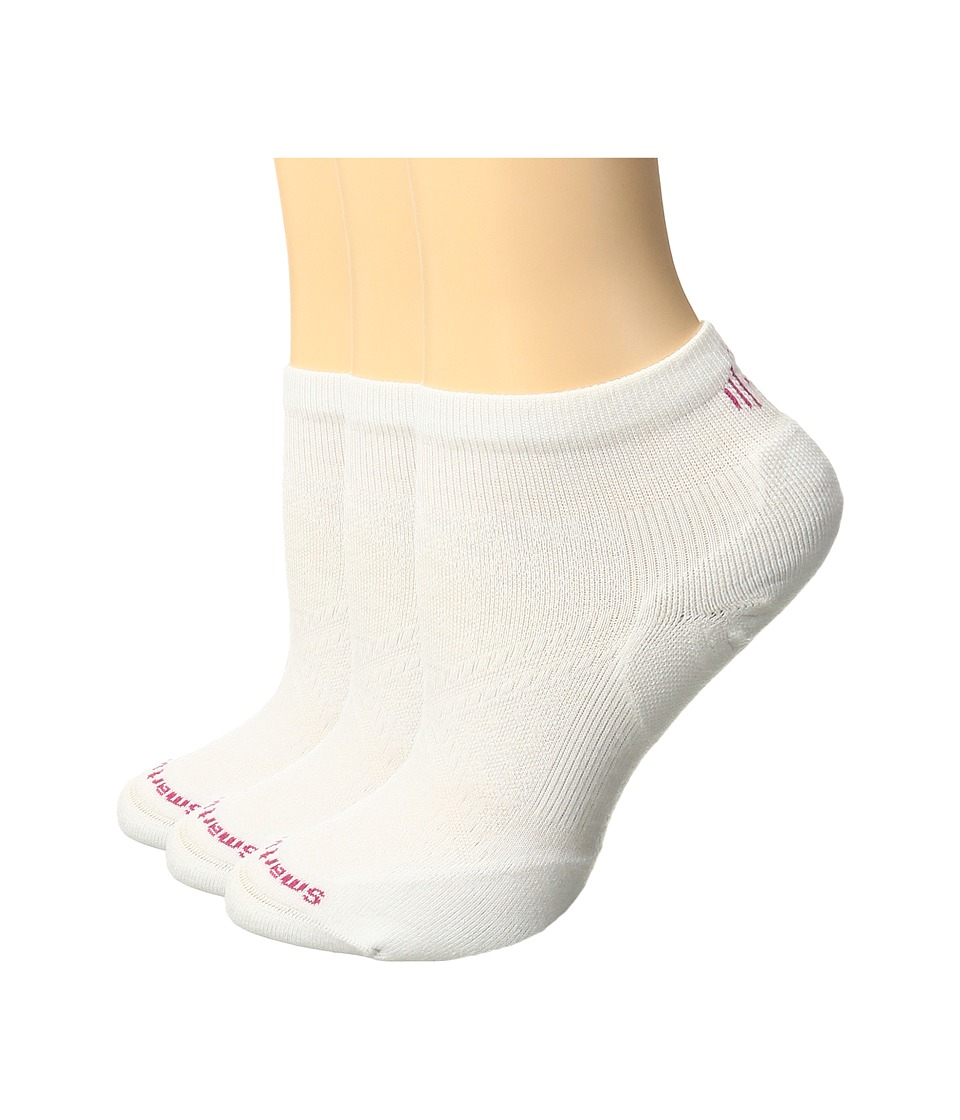 Smartwool - PhD Run Elite Low Cut Pattern 3-Pack (White) Women's Low Cut Socks Shoes