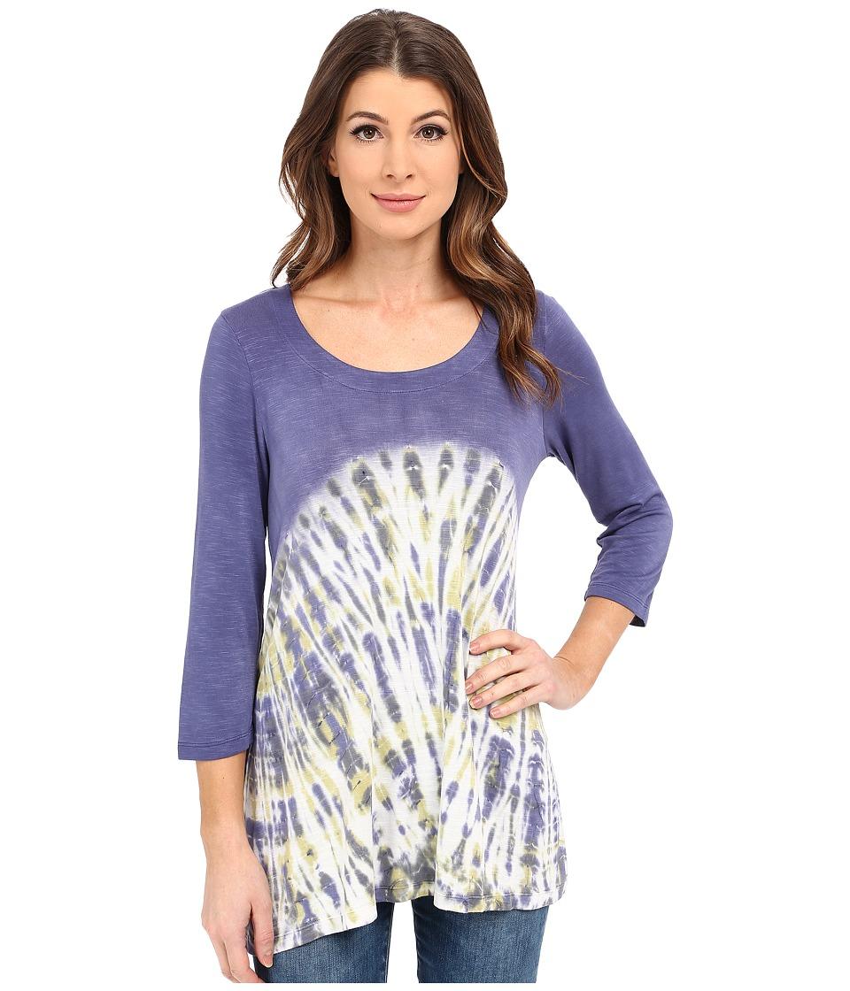 Miraclebody Jeans - BFF Sharkbite Top w/ Body-Shaping Inner Shell (Sea Blue) Women's T Shirt