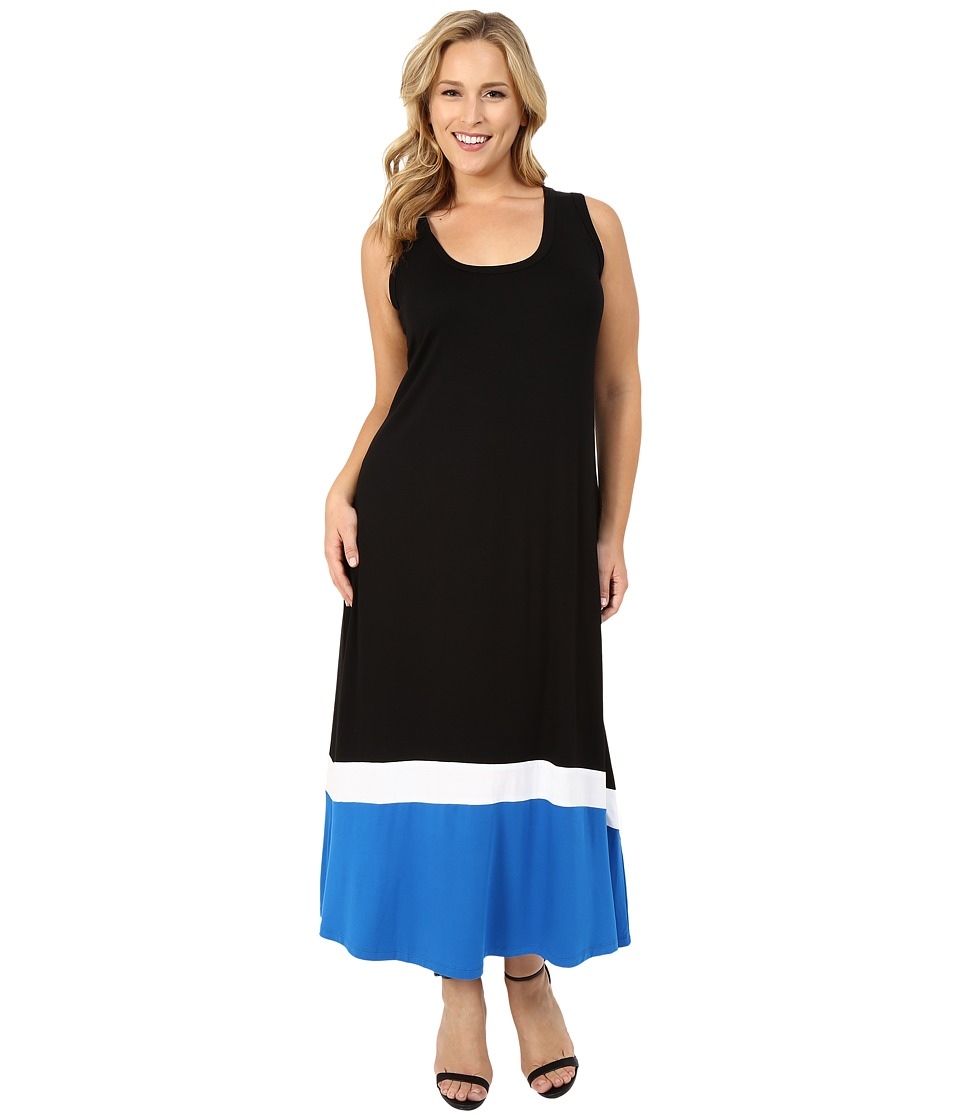 Karen Kane Plus - Plus Size Contrast Maxi Tank Dress (Black) Women's Dress