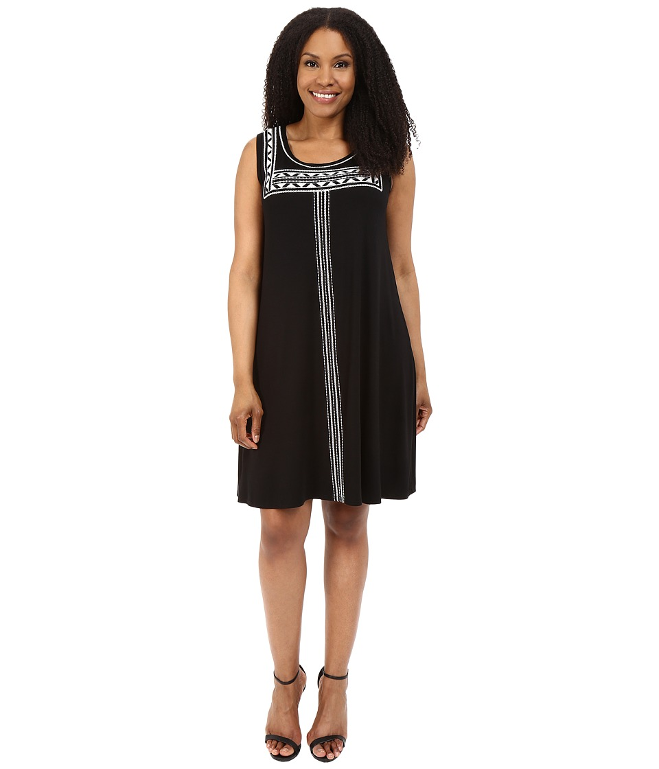 Karen Kane Plus - Plus Size Embroidered Sleeveless Trapeze Dress (Black) Women's Dress