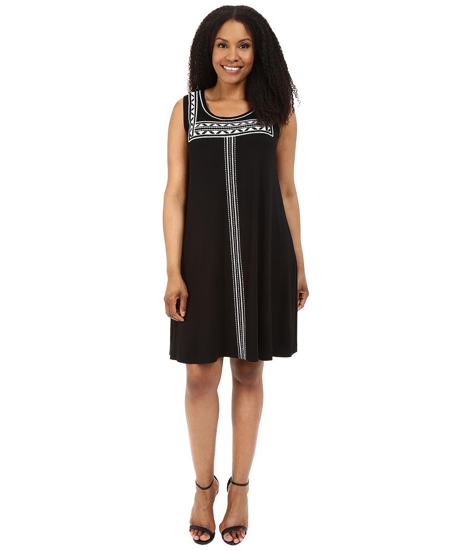 Karen Kane Plus Plus Size Embroidered Sleeveless Trapeze Dress (Black) Women