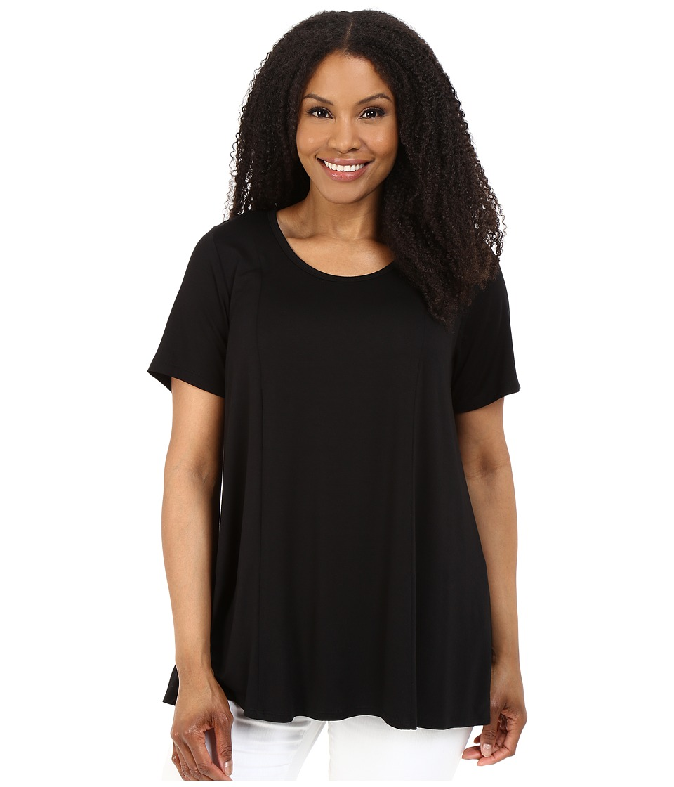 Karen Kane Plus - Plus Size Keyhole-Back Swing Tee (Black) Women's T Shirt