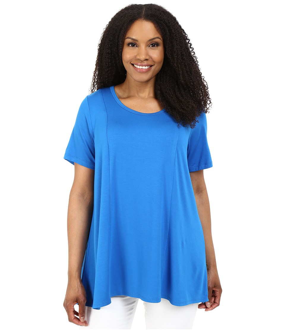 Karen Kane Plus Plus Size Keyhole-Back Swing Tee (Royal) Women