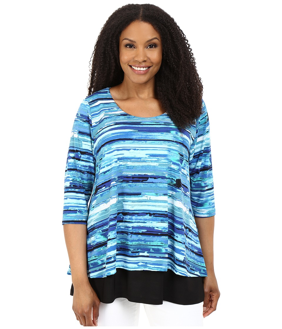 Karen Kane Plus - Plus Size Split-Back Top (Print) Women's Short Sleeve Knit