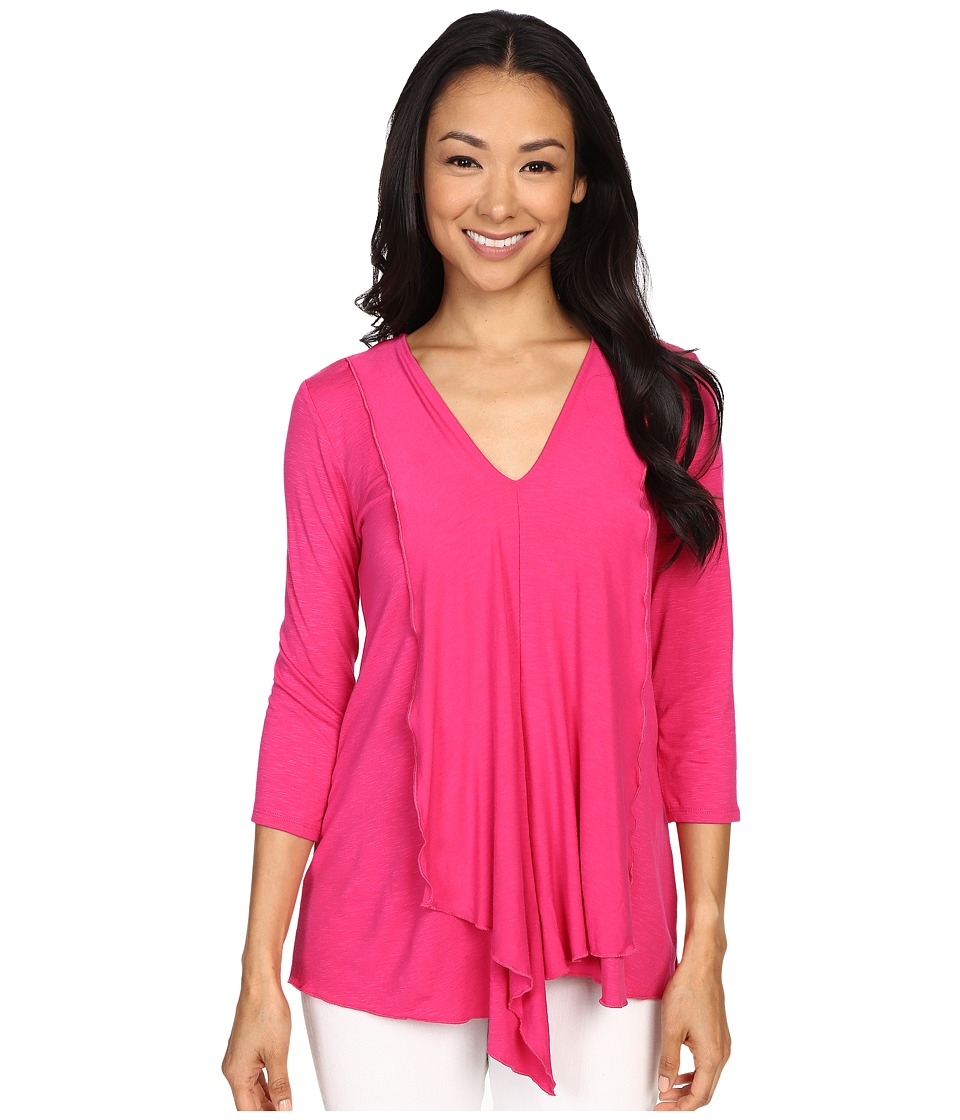 Miraclebody Jeans - Cerise Asymmetric Top w/ Body-Shaping Inner Shell (Fuchsia) Women's T Shirt