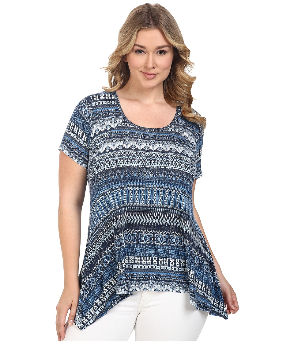 Karen Kane Plus - Plus Size Mosaic Stripe Handkerchief Top (Print) Women's Short Sleeve Knit