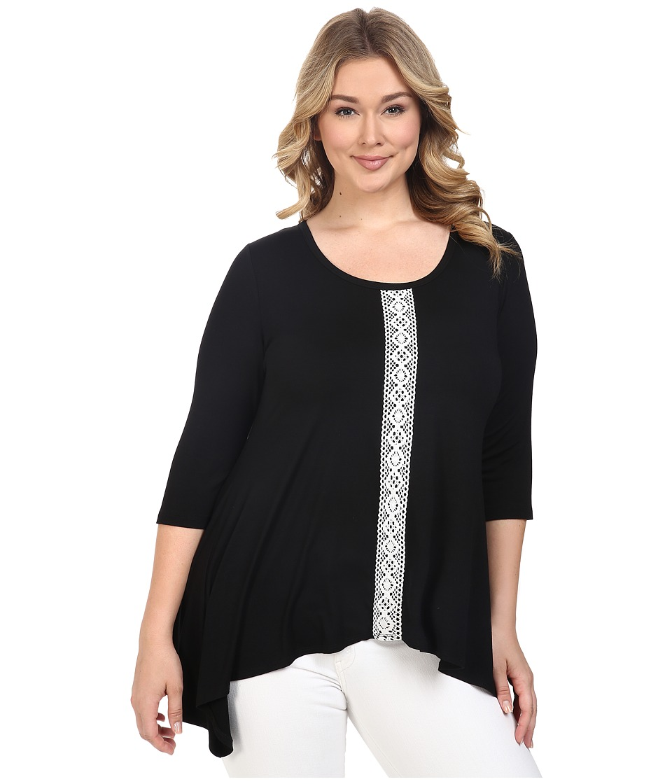 Karen Kane Plus - Plus Size Lace Panel Handkerchief Top (Black/Off-White) Women's Short Sleeve Knit