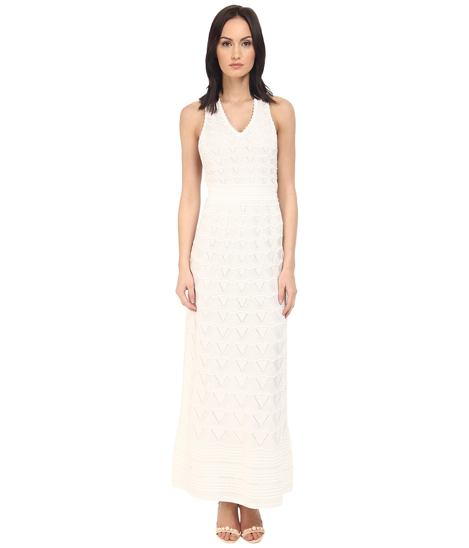 M Missoni - Solid V-Neck Maxi Dress (White) Women's Dress