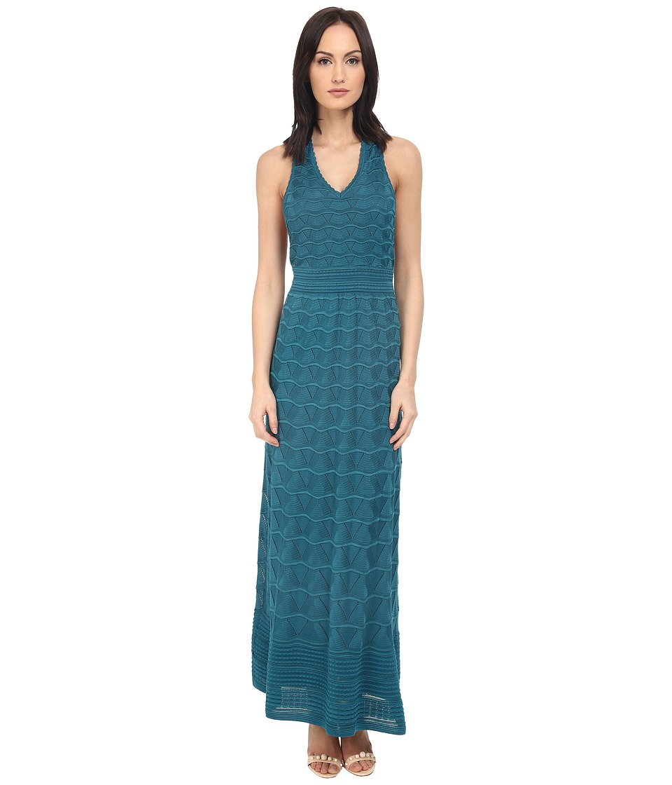 M Missoni - Solid V-Neck Maxi Dress (Teal) Women's Dress