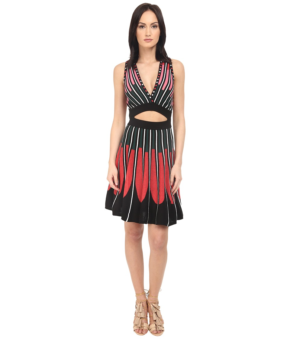 M Missoni Petal Intarsia Open Back Dress (Black) Women