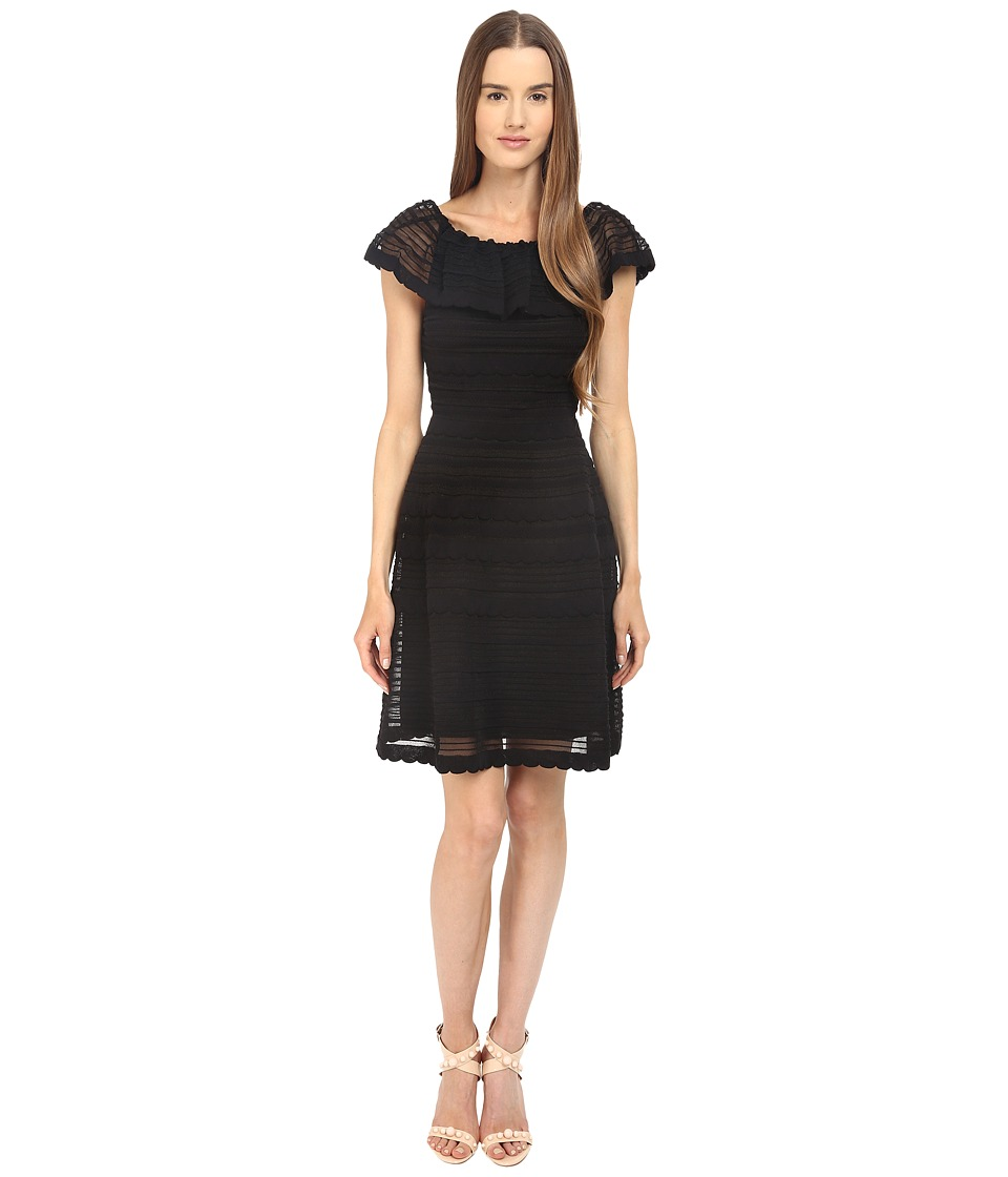 M Missoni Solid Ribstitch Ruffle Dress (Black) Women