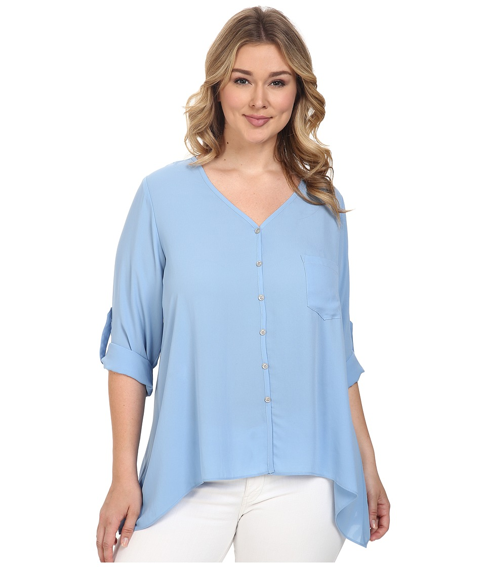 Karen Kane Plus - Plus Size Roll-Tab Handkerchief Top (Blue) Women's Short Sleeve Knit