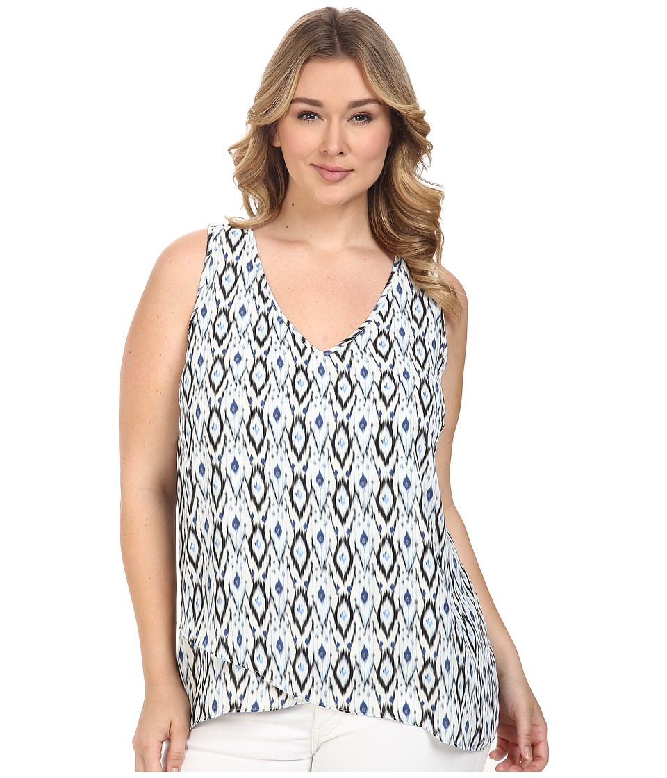 Karen Kane Plus - Plus Size Asymmetrical Tank Top (Print) Women's Sleeveless plus size,  plus size fashion plus size appare
