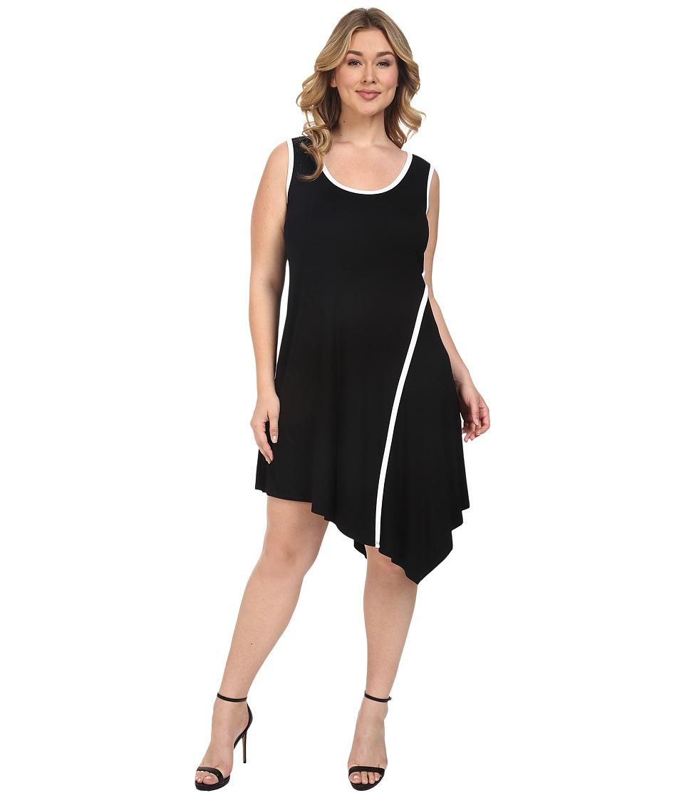 Karen Kane Plus Plus Size Angled Drape Dress (Black) Women