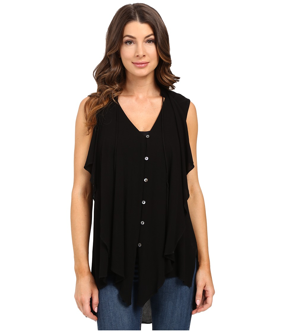 Miraclebody Jeans - Farah Cascade Front Blouse w/ Body-Shaping Inner Shell (Black) Women's Blouse